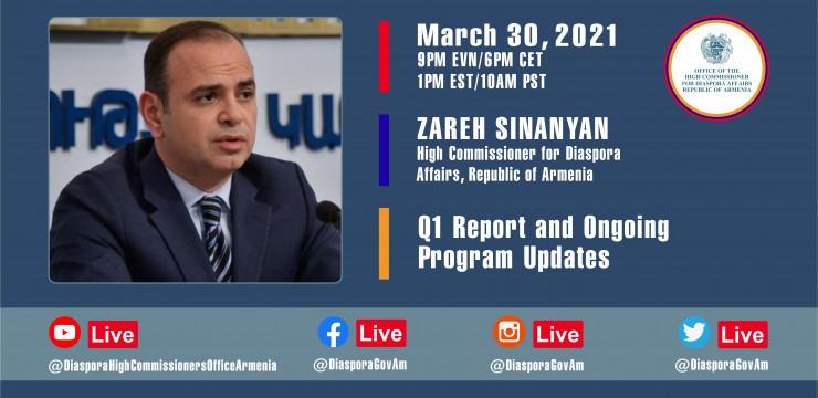 Прямой эфир с главным уполномоченным по делам диаспоры РА Заре Синаняном