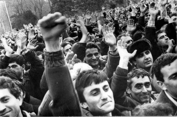 Armenians rallying in Stepanakert during the early stages of the Karabakh Movement.