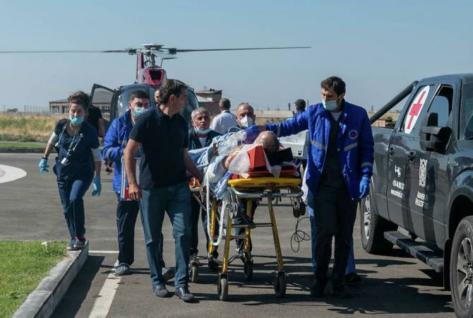 Russian journalist airlifted to hospital.
